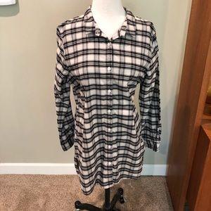 Garnet Hill Long length Flannel Shirt Top L